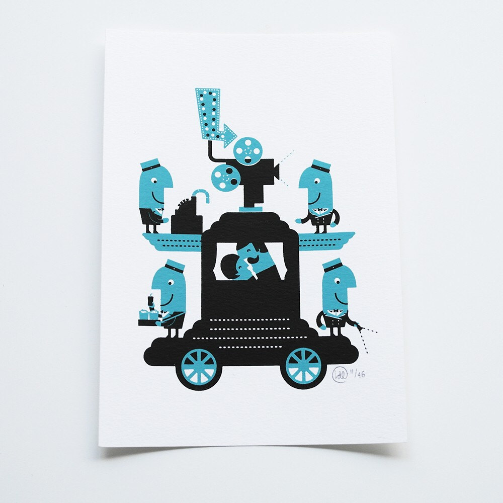 Mobile Cinema Screenprint